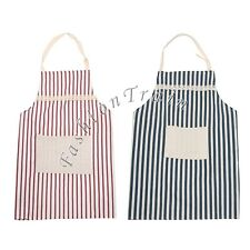 Unisex Men Women Adjustable Stripe Shop Cooking Coffee Home Kitchen Pocket Apron