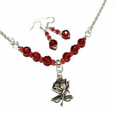 Red Glass Bead Earrings Necklace Set, Rose, Vintage Style, Choice of Fittings
