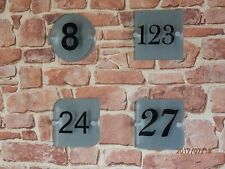 Modern House Sign plaque, Number only Glass effect perspex & Brushed aluminium