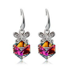 Butterfly with Magic Cubic Dangle Earring 18K White Gold Plated Crystal Jewelry