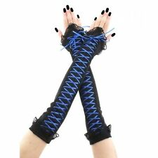 extra long fingerless gloves arm warmers lace corset laced black blue 3675