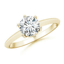 1 Ctw Round Forever Brilliant Moissanite Solitaire Engagement Ring Yellow Gold