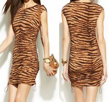 NWT $89 Michael Kors Drawstring Side Ruched Tiger Animal Print Dress Caramel