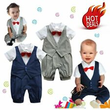 Baby Boy Wedding Christening Formal Tuxedo Suit Romper Party Outfit Clothes 0-18