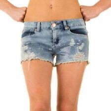 Size 8 10 12 NEW HIGH WAIST Jeans SHORTS Ladies DENIM Distressed WAISTED JEANs