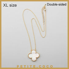 """Handmade 1"""" mother of pearl four leaf clover gold necklace"""