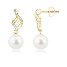 Twisted Wave Freshwater Cultured Pearl Dangle Earrings with Diamond