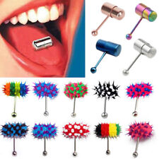 Powerful Stainless Steel Vibrating Tongue Ring Bar Barbell Body Piercing Jewelry