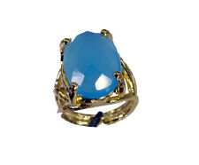 Blue Chalcedony Copper Ring L-1in shapely Blue jewelry AU K,M,O,Q