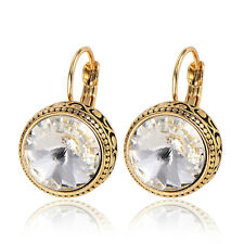 Womens Crystal round hoop earrings Yellow gold filled Fashion Jewelry