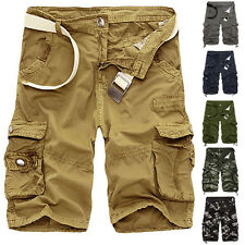 Fashion Mens Casual Slim Fit Cargo Army Short Pants Work Shorts Summer Trousers