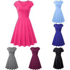 Lady A-line Shaped Pleated V-Neck Cap Sleeve Elegant Party Cocktail Dress Clever