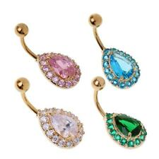 Rhinestone Waterdrop Barbells Navel Belly Bar Button Ring Piercing Jewelry