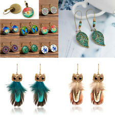 Lady Chic Retro Earring Hanging Flower/Peacock Feather/Owl Leaf Mix Style Jewel
