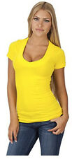 Sexy Electric Yellow Low-Cut V-Neck Cleavage Simple Womens Plus Shirt Top 1x2x3x