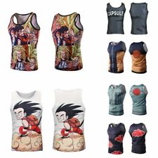 Men Dragon Ball Z Singlet T-shirt Tank Top Sleeveless Slim Cut Gym Sport Vest