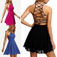Sexy Women Bandage Playsuit Backless A-line Skirt Bodycon Jumpsuit Beach Dress