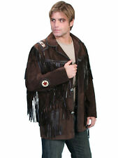 Scully Leather Mens Mountain Man Handlaced Bead Trim Coat Expresso
