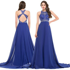 GK Sexy Beading Stone Chiffon Long Formal Prom Pageant Maxi Dress Evening Gowns