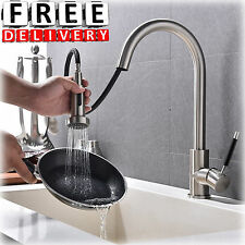 Pull Down Spray Kitchen Faucet Chrome Nickel Single Handle Out Sink Commercial
