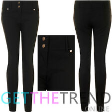 Womens Girls Black Back To School Work Office Pocket Trousers Stretchy Pants New