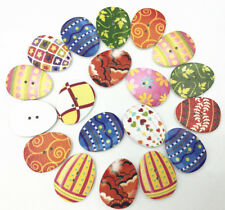 Mixed Easter Eggs Painting Wooden Buttons Fit Sewing DIY Scrapbooking Craft 31mm