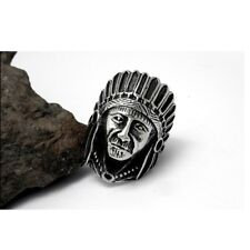 Mens Punk 316LStainless Steel Carved Apache Indian Chief Head Finger Ring Gothic