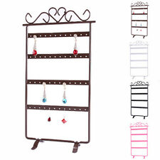 Earrings Jewelry Display Rack Metal Stand Holder Organize Showcase 48 Holes Pink