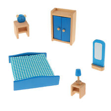 Dollhouse Miniature Wooden Furniture Set Kid Pretend Play Toy 6 Rooms for Choose