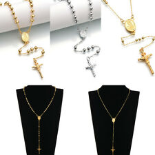 Gold-color Virgin Mary Rosary Hip-hop Necklaces Men Women Jewelry Prayer Beads