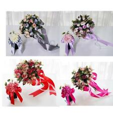 2 Pieces Bridesmaids Hand Bouquet and Boutonniere Brooch for Wedding Ceremony