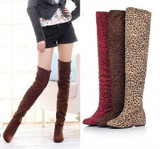 Womens  Leopard Print Thigh High Over the Knee Slouch Stretchy Boots Shoes EL