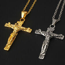 1pc Best Unisex's Stainless Steel Jesus Christ Cross Crucifix Pendant Necklace
