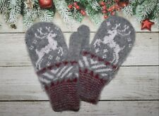 NEW Kids winter mittens homemade knitted 100% pure sheep wool thick snowflake