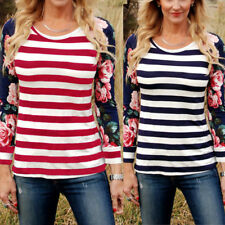 Floral Long Sleeve T-Shirt O-Neck Loose Tops Women Fashion Stripe Casual Blouse