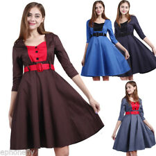 1950s 60s Retro Vintage Pinup Swing Dress Casual Belted Cocktail Party Dresses