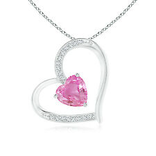 Solitaire Pink Sapphire Heart Pendant with Pave Diamond Silver/ 14k White Gold