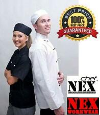 CHEF JACKET, LONG/SHORT SLEEVE, WHITE/BLACK, ONLY $18.00, BEST PRICE & QUALITY