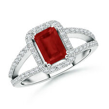 Emerald Cut Natural Ruby With Diamond Wedding Ring in 14k White Gold/ Platinum