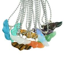 Angel Wing Charm Gemstone Pendant Necklace with Open Flying Wings 1Piece