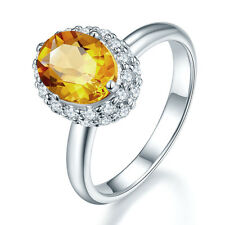 2.62ct Natural Golden Citrine Ring Solid 925 Sterling Silver Women Wedding Party