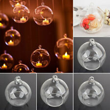 1x Glass Round Hanging Candle Tea Light Holder Candlestick Party Bar Home Decor