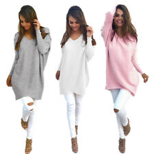 New Ladies Loose Tops V-neck Long Sleeve Pullover Thin Sweater Womens
