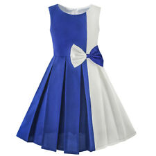 US Seller Girls Dress Color Block Contrast Bow Tie Everday Party Size 4-14