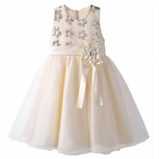 Girls Sequin Flower Skater Dress Party Wedding Pageant Christening Communion
