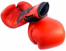 Red Pro Style Heavy Leather Boxing Bag Training Gloves Fight Punch Mitts MMA