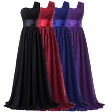 One Shoulder Long Bridesmaid Wedding Dress Cocktail Evening Prom Gown Formal New