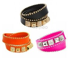 Juicy Couture Double Wrap Leather Pyramid Studded Crystal Bracelet Orange Pink