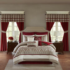 24pc red taupe embroidered comforter sheets window panels complete bed bag set