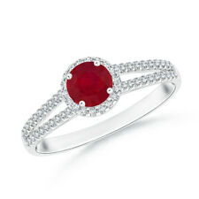 Twin Shank Ruby Halo Ring with Diamond Accents 14K White/Y Gold/Platinum